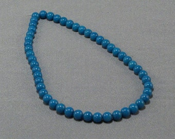 String of Blue Glass Beads // 1/4 Inch Round // Jewelry Making // Beading Supplies