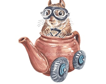 Squirrel Driving a Tea Pot Watercolor - Funny Painting PRINT, Kitchen Decor, Race Car, Animal Lover Gift, Brown Betty