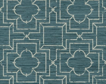 GE3658 Blue/Green Teal Irongate Trellis Wallpaper