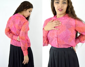 Vintage 1950s  Hot Pink Peter Pan Collar Blouse - Chiffon Fancy Long Sleeve Blouse - Sheer Sleeve Fancy Button Up Shirt - ladies size Medium