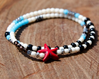 Bracelets ASTERY Starfish - Beaded wrap bracelet, double turn