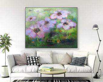 green  pink botanical abstract wall art, fine art paper or canvas roll,pink flowers art,wall art green pink,giclee canvas roll,boho style