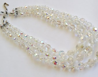 Vintage 1960s Bling Tri Graduated Strand Iridescent Aurora Austrian AB Crystal Necklace