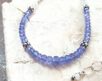 Tanzanite & Rainbow Moonstone Necklace Set, Karen Hill Tribe Fine Silver Necklace, Sterling Silver, Gemstone Jewelry, Natural, Women's Gift