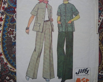 vintage 1970s simplicity sewing pattern 6529 misses unlined jiffy jacket and pants size 14