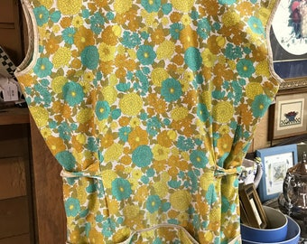 Vintage Floral Apron Gold, Mustard, Turquoise