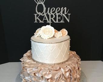 Princess Birthday Topper Gold Glitter Personalized Cake