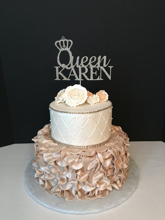 Queen Birthday Topper Gold Glitter Personalized Cake Topper