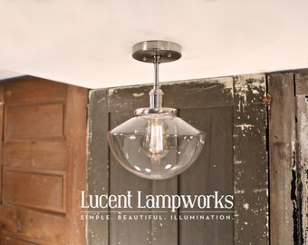 Soft Tapered Clear Glass Semiflush Fixture - 10 Inch