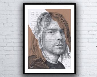 Kurt Cobain ORIGINAL Portrait Drawing with Smells Like Teen Spirit lyrics - A4 size Artwork