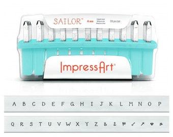 ImpressArt SAILOR Stamp Set, Uppercase Stamping Kit, 4mm Alphabet Stamps, Upper Case Stamps Plus Bonus Ampersand and New Nautical Designs