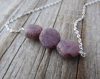 Raw Ruby Necklace, unpolished, rough tumbled gemstone and silver necklace