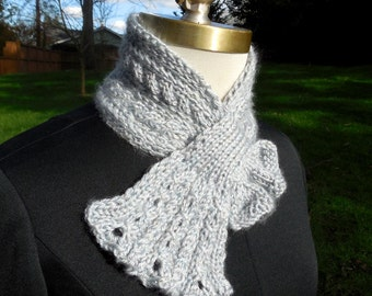 Glitzy Gray Scarflette with Lacy Cabled Frill hand knit neckwarmer dressy scarf pass through scarf keyhole scarf