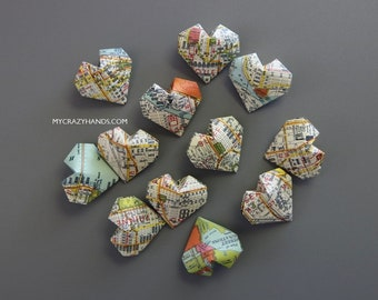 12+ texture Seattle map balloon hearts | origami heart favors ||| map theme wedding | gifts for map lovers -Seattle