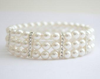 Bridal Pearl Cuff Bracelet Swarovski Pearl Bracelet Wedding Pearl Bracelet 3 Strand Bracelet Rhinestone Pearl Bridal Jewelry, Ava