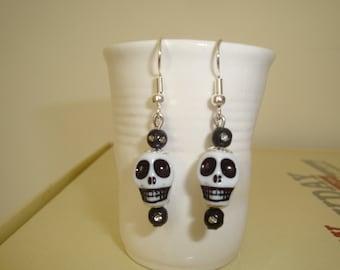 earring dangle skull 925 Silver hook