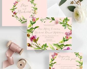 Spring Wedding Invites Blush Wedding Invitations floral spring bohemian greenery wedding invitations {Crescent design}