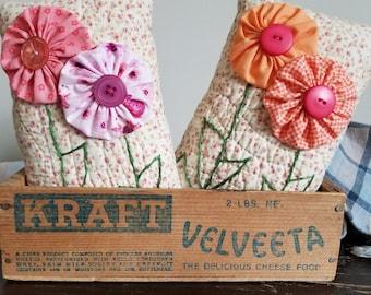 Flower Pillow Bowl Filler/Ornie/Shelf Sitter/Country Decor/Farmhouse/Spring/Basket Filler/Handmade