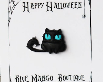 Cat pin halloween jewelry | Black cat pin | Halloween cat pin | Crazy Black cat brooch | Cat jewellery |Black witches cat | Halloween Gift