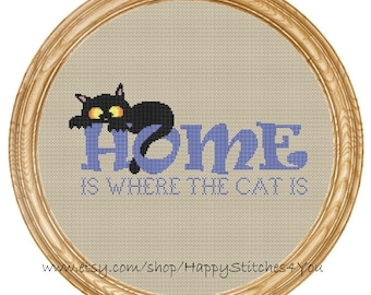 Cross Stitch Pattern PDF cat home is where  the cat is  DD0191
