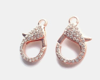 1 Extra Large Rose Gold Color Rhinestone Lobster Claws, Jewelry making Finding Supply, Alloy, 31mm X 22mm X 7mm