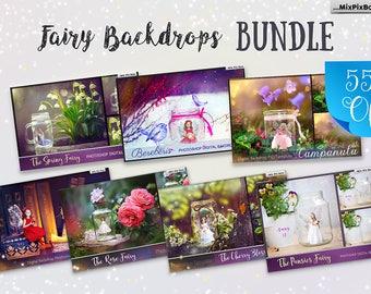 55 % OFF Bundle Pack Photoshop Fairy SALE Digital backdrop, template scene, Digital backgrounds, Fairy psd template, children's backdrop,