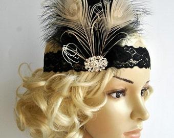 Flapper Lace Rhinestone Feather Headband, The Great Gatsby Headband, 1930s, 1920's,Feather, Lace flapper costume, black, silver