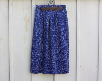 Vintage Polka Dot Skirt - Navy Blue and White Skirt - Retro Midi Skirt - 90s Grunge Skirt - 1990s Skater Skirt - Mod Skirt - A Line Skirt