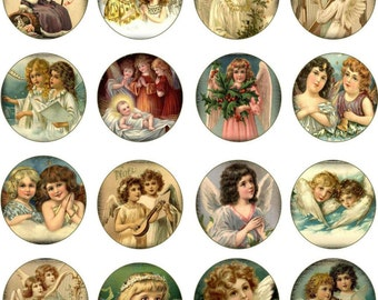 """Christmas Vintage inspired 30 angel 1.5"""" round sticker cut and ready to use"""