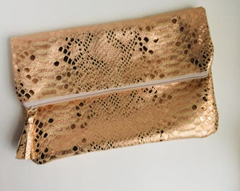 Glam Fold Over Clutch- Rose Gold