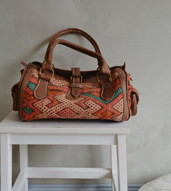 Trendy Winter Finds Moroccan Orange Kilim Leather Satchel Cross Shoulder Straps Berber style-bag, tote, handbag, purse, gifts, Ramadan, Eid
