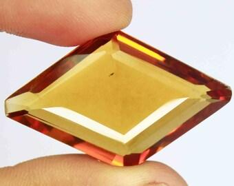 56.40Ct Certified Attractive Brazilian Fansy Cut Yellow Citrine Gemstone AP109