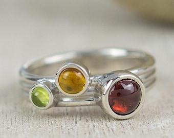 Garnet, Peridot and Citrine Multistone Ring | January Birthstone | August Birthstone | November Birthstone | Silver Garnet Ring | Autumnal