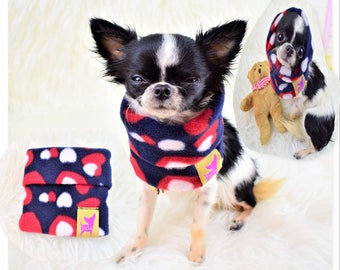 "PETiRO "" Be Mine"" fleece snood for dog | cat. Dog neck warmer. Dog & cat scarf. Cowl scarf."