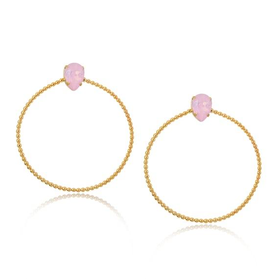 Stone Side Hoops in Pink Opal
