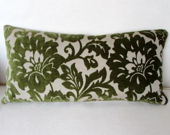 VELVET green decorative Pillow cover 12x20