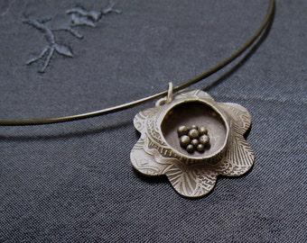 Fine silver flower pendant
