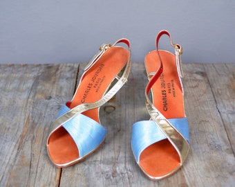 1970's Designer High Heel Shoes Charles Jourdan Paris Pumps Slingbacks, Vintage Womans Heels, Leather Metallic Gold and Blue, Size 6 1/2 B