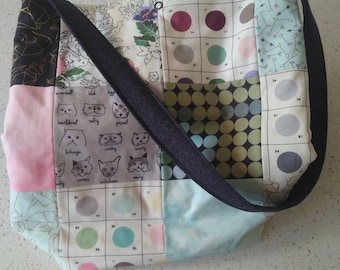 Patchwork tote bag made with 'Meow or Never' fabrics by Erin Michael for Moda