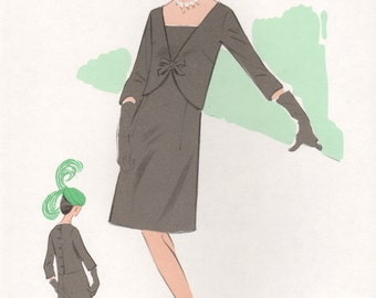Original French 1960s fashion illustration lithograph