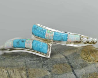 Stunning Sterling Silver 925 Inlaid Turquoise and  Fire Opal Mosaic Inlaid cuff bracelet adjustable