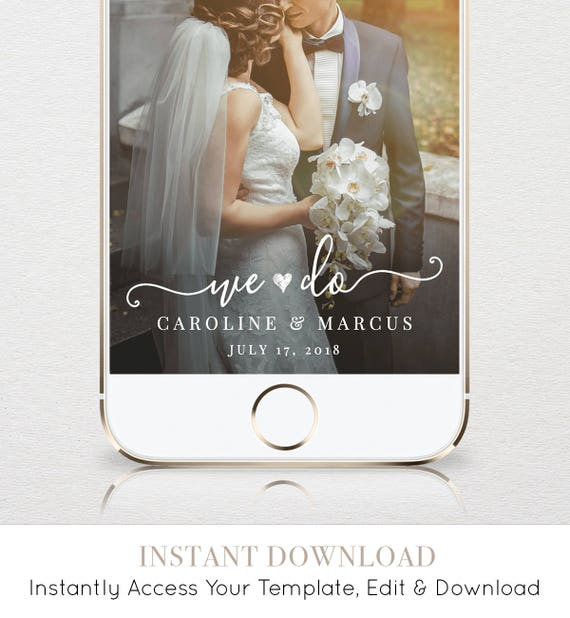 "Wedding Geofilter for SnapChat, Instant Download, 100% Editable Template, Re-use Unlimited Times, Custom ""We Do"" Snapchat Filter #030-101GF"