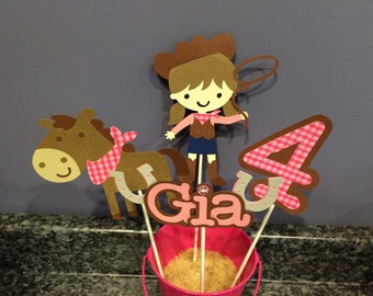 Four Piece Cowgirl Centerpiece