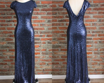 Navy Bridesmaid Dresses, Sequin Prom Dress, Full Sequined Dress, Evening Dress Long,Dress for Wedding Party,Cowl Back Ball Gowns
