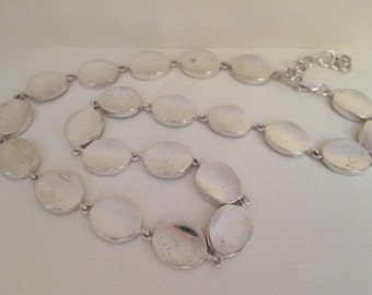 Oval Sterling Silver Links Necklace