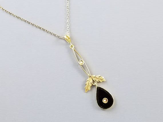 Antique Art Deco 14k gold black onyx seed pearl lavalier drop pendant necklace multi color leaf detail, Tisdall, Toronto, Ontario, Canada