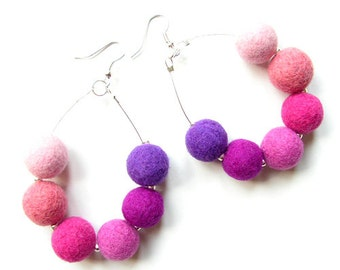 Felted Earrings Felt Earrings Pink Violet Purple felt Wool Felted Balls Spring Women's Gift