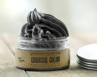 ACTIVATED CHARCOAL CREAM Whipped Soap, Mens soap, Vegan Soap, Natural Soap, Handmade Soap, Essential oils soap, Rustic soap, fluffy soap