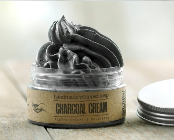 ACTIVATED CHARCOAL CREAM Whipped Soap • Detoxifing, extremely versatile, vegan whipped cream soap.