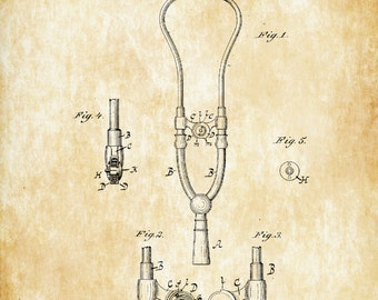 Stethoscope Patent - Decor, Doctor Office Decor, Nurse Gift, Medical Art, Medical Decor, Patent Print